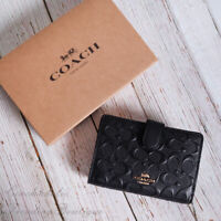NWT Coach F67565 Medium Corner Zip Wallet in Signature Leather Black