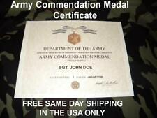 UNITED STATES ARMY COMMENDATION MEDAL  REPLACEMENT CERTIFICATE FREE SHIPPING