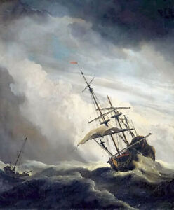 Oil painting ship in high seas caught by a squall storm huge waves seascape art