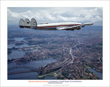 "QANTAS LOCKHEED SUPER CONSTELLATION NORTH SYDNEY 20"" x 16"" POSTER PRINT PICTURE"
