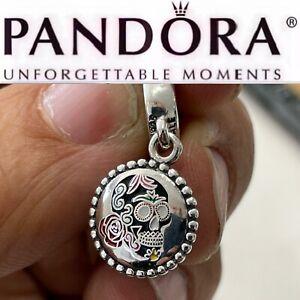 Rare Pandora Day of the Dead Black Sugar Skull Dangle Exclusive Charm