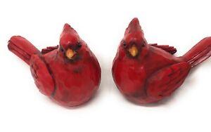 "Large Red Cardinal Figurines, set of 2, 10"" long, 8"" tall, Wood Cut Design Resin"