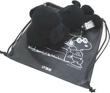 KAWS x Peanuts Snoopy Japan Plush Toy Doll(Large) +Ltd Drawstring Bag -Black-NWT