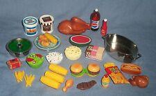 Vtg Lot TYCO Kitchen Littles 41pc Food Fried Chicken Bucket BBQ  Barbie 1:6