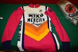 MERCIER vintage cycling jersey MEDIUM size M Long sleeve Vintage 1980s NOS