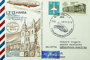 GERMANY 1989 ZEPPELIN AIRSHIP LZ 13 HANSA AIRMAIL CARD W/ 2v TO DENMARK & RETOUR