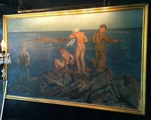 Framed August Torsleff Nude Men on Rock in Front of Water Oil on Canvas Painting