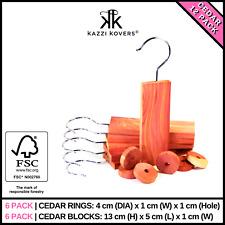 12PK Cedar Rings Blocks FSC® Certified Wood Natural Moth Repellent Mould Mildew
