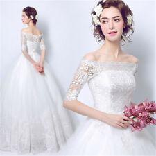 CHEAP APPLIQUED LACE WHITE WEDDING DRESS SIZE 8 10 12 14 16 18 20 + PLUS SIZE