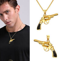 New Fashion Mens Cool Stainless Steel Gun Pendant Necklace Chain Jewelry Charms