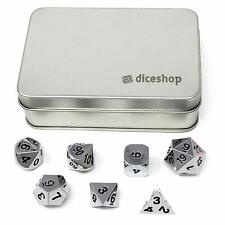 Shining Silver Metal Polyhedral Dice Set 7 Dice in Metal Tin