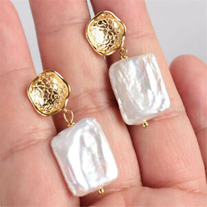 Natural White Baroque Pearl Earring 18k Ear Stud pearl Women Real Gift