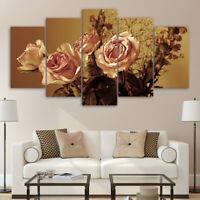 Vintage Elegant Rose Bunch Flower 5 Pcs Canvas Wall Artwork Home Decor Poster
