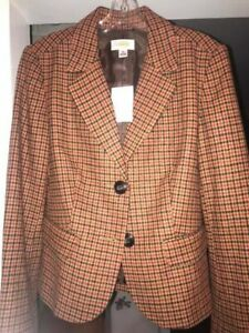 Talbots NWT size 12 Wool Houndstooth Blazer with Lining