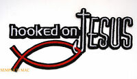 HOOKED ON JESUS FISH CROSS CHRISTIAN Iron On Hat Patch PIN UP HEART GOD ANGEL
