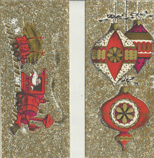 Greeting cards (2) Vintage by Golden Rhapsody Christmas gold glitter 1960's art