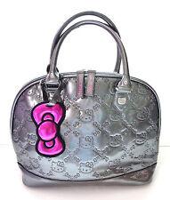 Purse Hello Kitty Sanrio Bag Gun Metal Gray Metallic Patent Embossed Hand  Bag 5fad53db09079