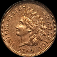 1864 INDIAN HEAD PENNY/CENT RARE L ON RIBBON MS/GEM RED FS-006.7 SNOW 2