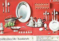 PUBLICITE ADVERTISING 116  1962  Christofle (2p) art table  cadeaux lumière