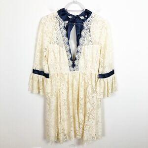 Free People Gilded Lace Boho Romantic Fit & Flare V-Neck Dress Size S Blue Trim