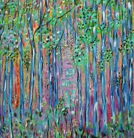 Original painting abstract forest, 24x24 stretched canvas, large wall art
