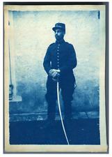 France, Soldat français posant  Vintage print.  cyanotype  8x11,5  Circa 1