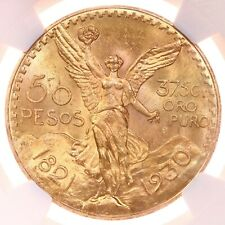 1930 Mexico G50P NGC Certified MS63 Mint State Graded Mexican Gold 50 Peso Coin