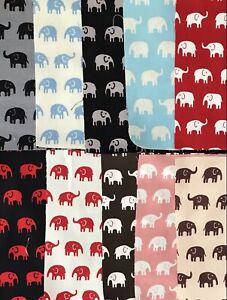 "10 Coloured Elephant 4 1/2"" Charm Squares - Quality Cotton Fabric 4 Patchwork"