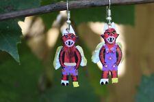 Mr & Mrs Winged Devil Hand Painted Tin Earrings Mexican Folk Art Hippie Fiesta