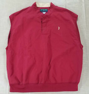 Eagles Ridge 19th Hole Golf Windbreaker Sweater Vest Logo Pockets Men L Red