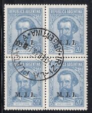 "ARGENTINA 1938/9 OFFICIAL STAMP # 307A USED ""M.J.I."" BLOCK OF FOUR"