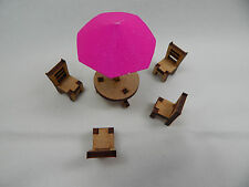 """Dollhouse Miniature 1/4"""" Scale 1:48 Outdoor Patio Set  Made of  Plywood #Z293P"""