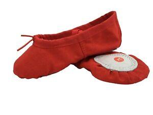 Ballet Dance Gymnastic Yoga Shoes Split Sole Red