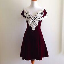 VTG 70's 80's Scott McClintock Dress Burgundy Velvet Lace Prom Flared USA Sz 8