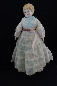"Antique 1890s Porcelain China Head Blonde Doll 22"" German Lowbrow"