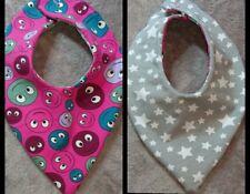 DaWanda Baby  Halstuch / Wendetuch pink grau Sterne Smiley Jersey