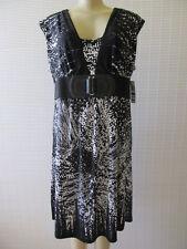 STYLE&CO BLACK & WHITE FLORAL PRINT SLEEVELESS DRESS SIZE L - NWT