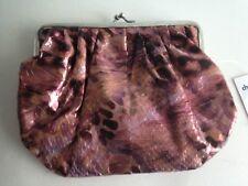 "Charlotte Russe Handbag Purse Animal Print Baguette Pink Metallic 6""Tall 8""Wide"