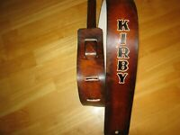 CUSTOM MADE LEATHER ANTIQUE BROWN GUITAR STRAP WITH YOUR NAME BLACK LETTERS