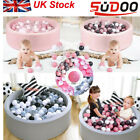 SUDOO Soft Baby Ball Pit Foam paddling Pool pit 90x30cm with 200Balls Grey/pink
