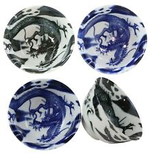Blue And Black Oriental Dragons Ceramic Bowls Pack Of 4 Soup Bowl Made In Japan