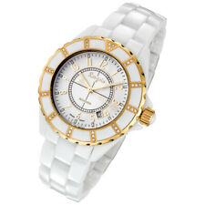 Rougois Women's White Ceramic Watch with Gold and Diamonds 68009GWG