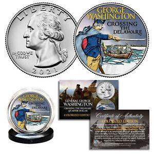 2021 Washington Crossing the Delaware Quarter Genuine U.S. Coin COA - COLORIZED