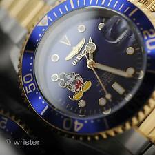 Invicta Disney Mickey Mouse Pro Diver 18k Gold IP 2 Tone Blue Dial LE Mens Watch