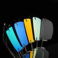 Rectangle Lightweight Polarized Sunglasses Rimless Driving Flexible UV400 I346