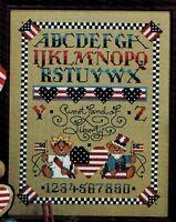 ✔️ 4th July Patriotic Alphabet Stars Stripes America Sampler Cross Stitch Chart