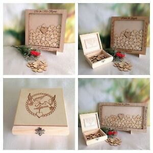 Personalised Wedding Christening Drop In Box Frame Guest Book Heart Wishes
