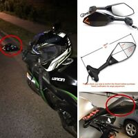 Motorcycle Side Rearview Mirrors Turn Signals LED Indicator For Kawasaki Suzuki