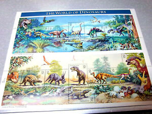 US stamps Pane of 15 stamps, Scott #3136, world of Dinosaurs, Beautiful set 1996