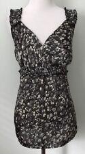 Ann Taylor Women's Size 6 Blouse Sleeveless Top Gray Satin Surplice